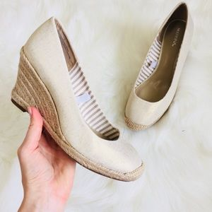 Champagne Gold Speck Cloth Rope Wedges   7